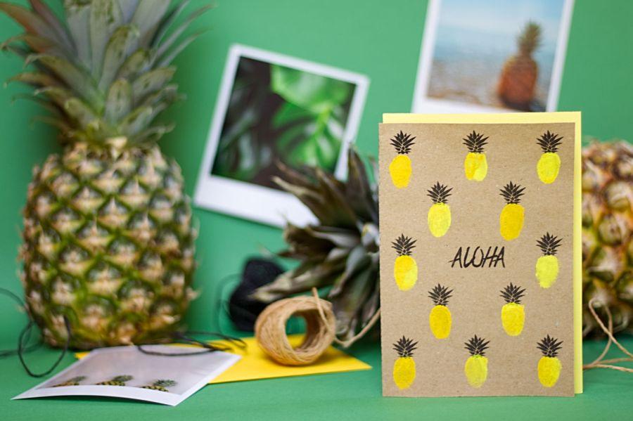 Karten selber machen Vorlagen Aloha Ananas Karte Querformat
