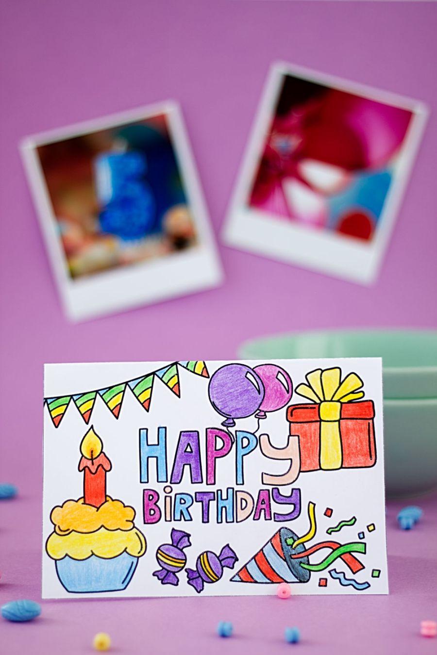 Geburtstagskarte zum Ausmalen Hochformat