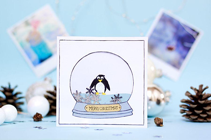Fingerabdruck Karte Pinguin in Schneekugel - Winter Bastelideen für Kinder