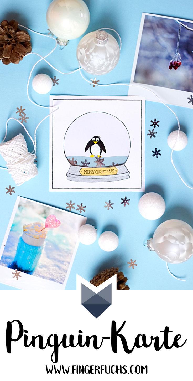 Weihnachtliche Karte Pinguin in Schneekugel