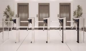 office building fingerprint access turnstiles
