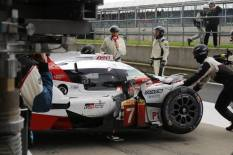 The #7 Toyota driven by Jose-Maria Lopez in the pits for repair after the crash