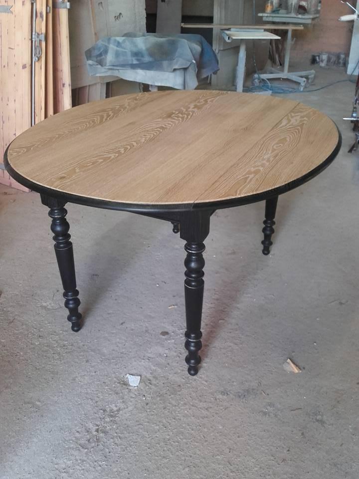 table ronde renovee noire et plateau