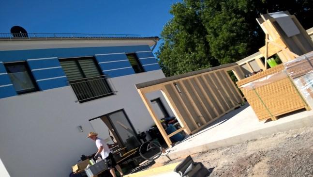 Aufbau Fink Garage in Holzständerbauweise in Gera.