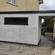 Fink Garage - Minigarage mit Überdachung - Rückansicht unverputzt