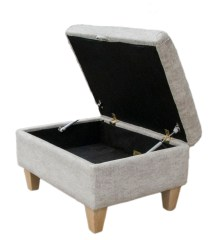 Stoarge Footstool Dagano Plain Chalk Bronze Collection opened