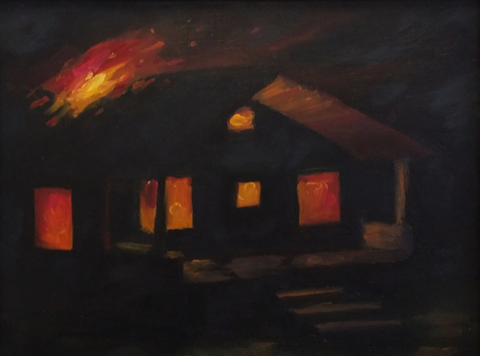 """Nocturnal Housefire, oil on panel, 9""""x12"""""""