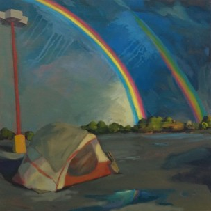 """Tent with Rainbows, oil on canvas, 16""""x16"""""""
