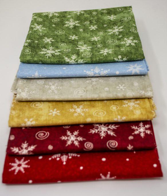 Snowflake christmas fabric, christmas colours