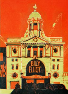 Victoria Palace Theatre linocut third colour