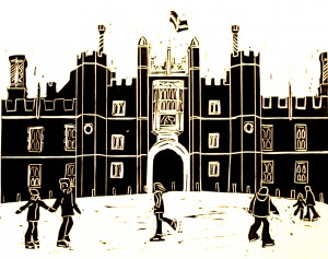 Hampton Court Ice Rink black linocut
