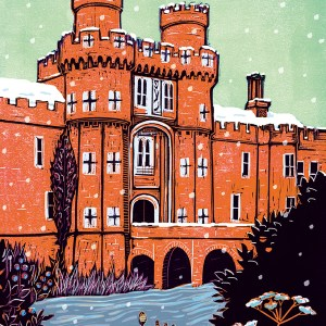 Herstmonceux Castle in the snow lino print