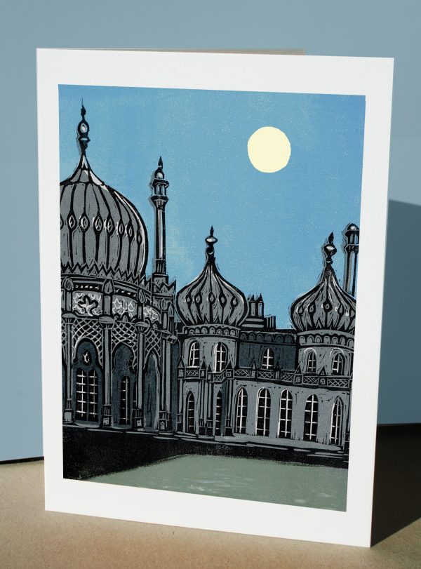 Royal Pavilion in Brighton at night linocut reproduced at a greetings card