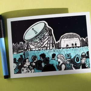 photo of greetings card from linocut showing the Bluedot Festival at Jodrell Bank