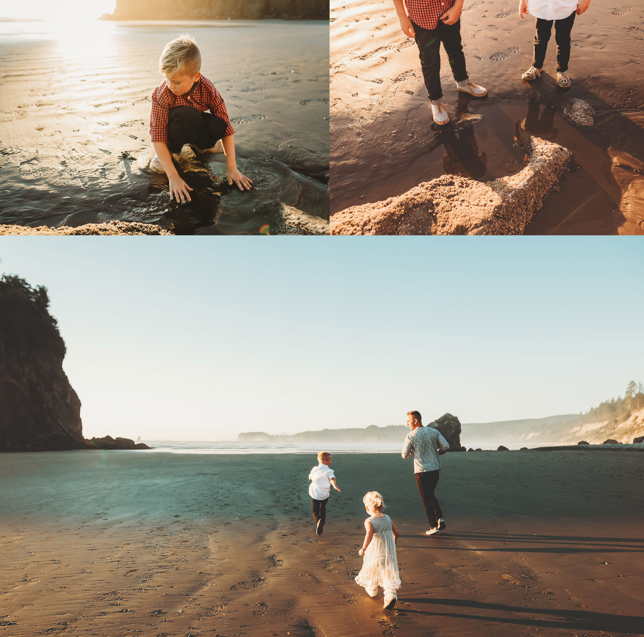 family playing at photo session at ruby beach