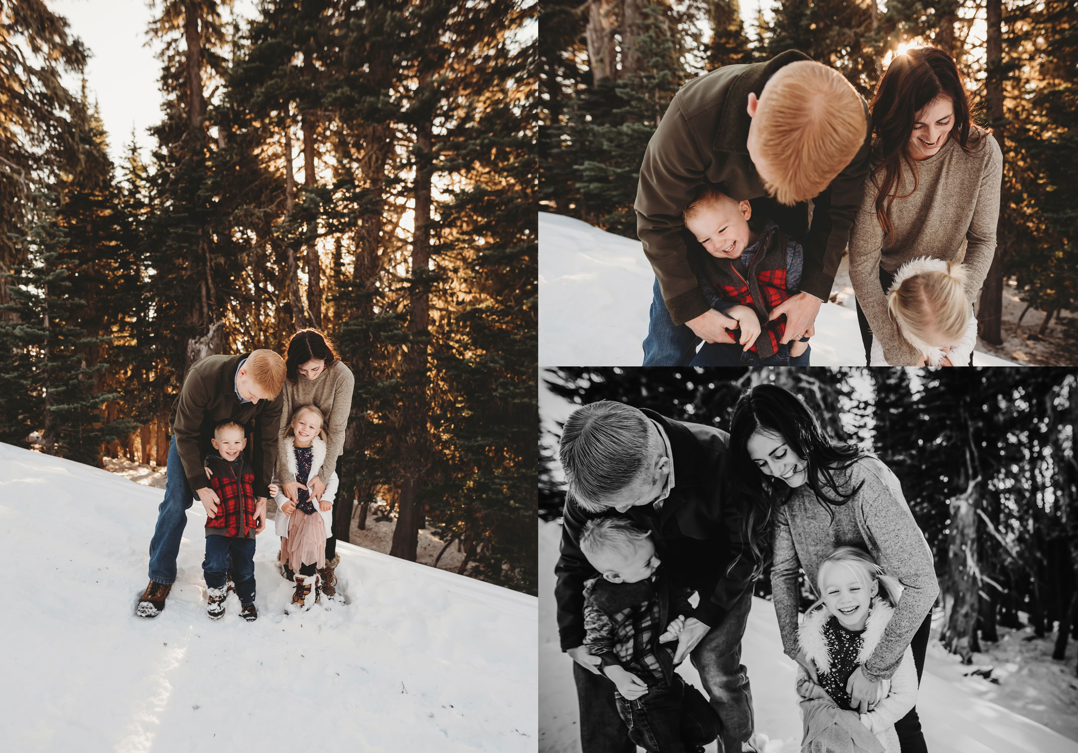 snuggly family photo session in the snow
