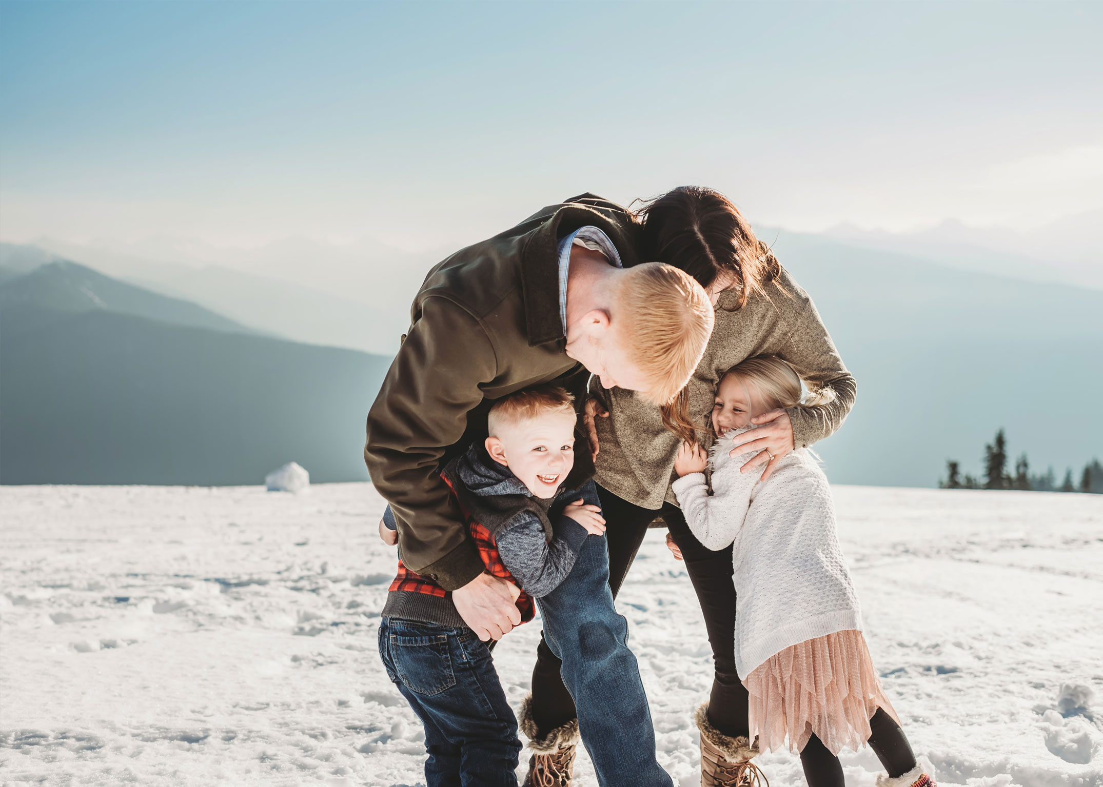 olympic national park snowy family photography session