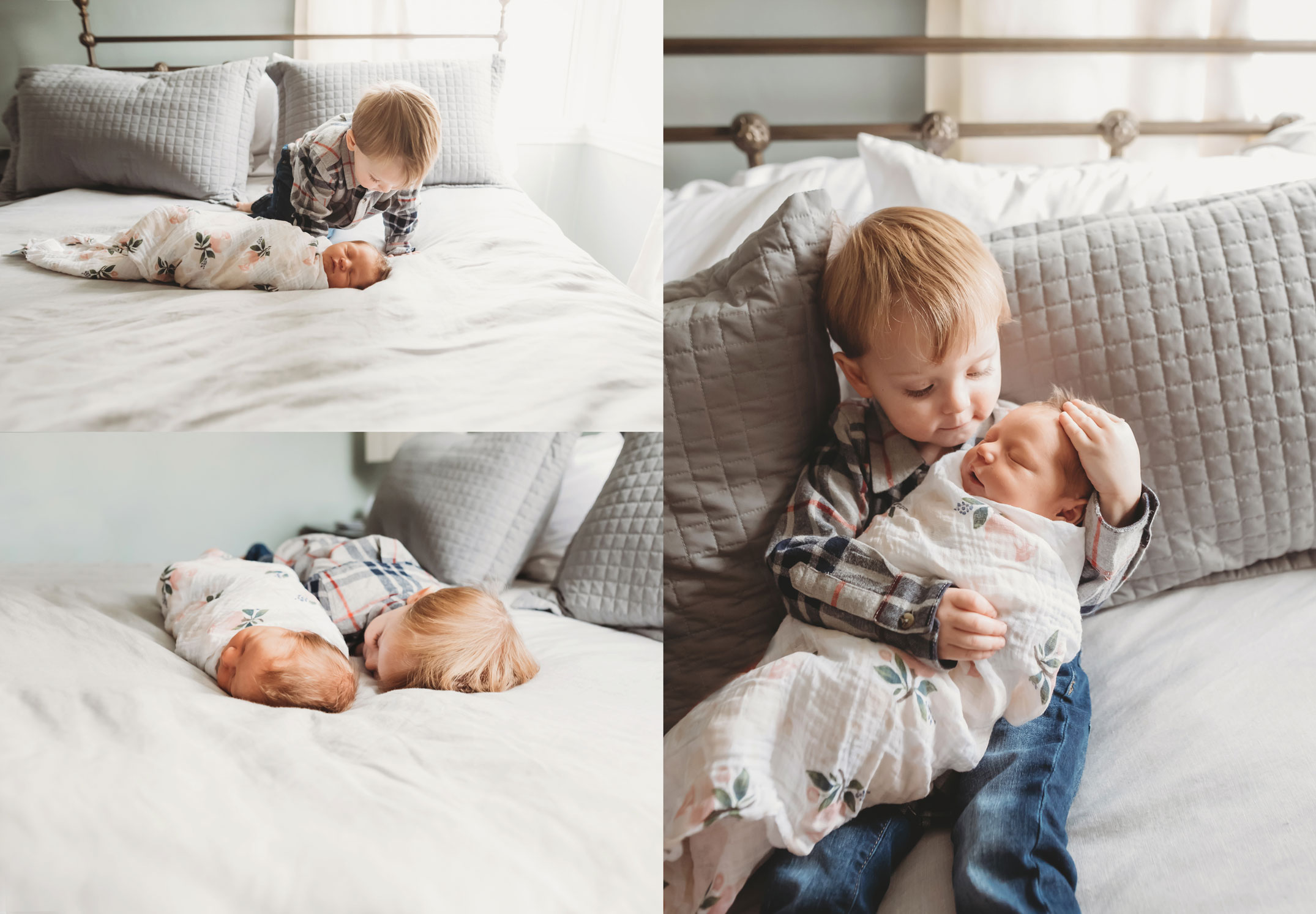 brand new brother holding little sister