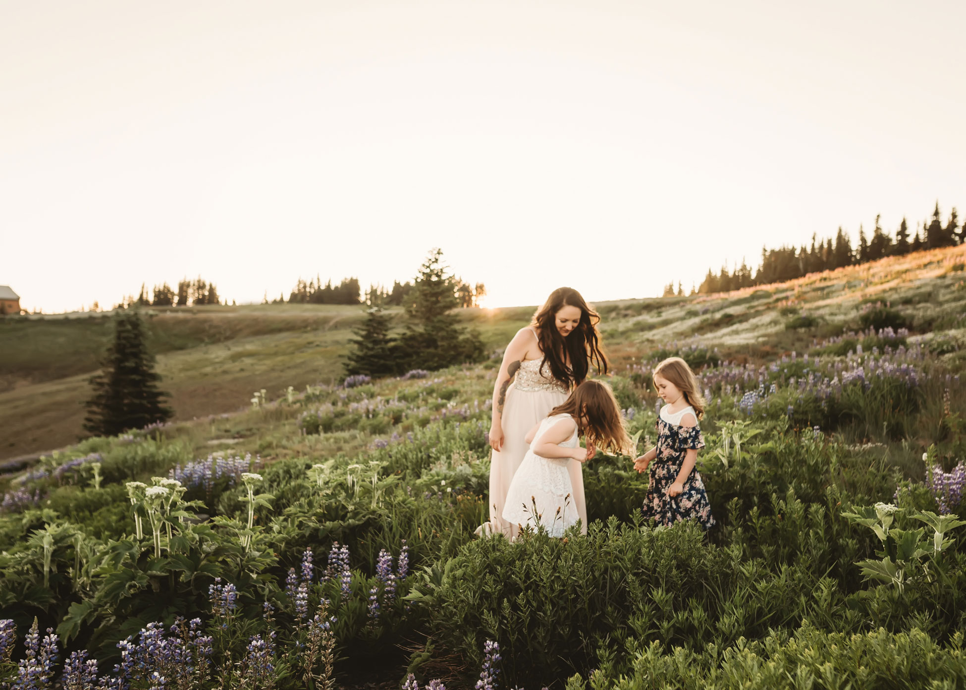 mother and daughters play in wildflowers