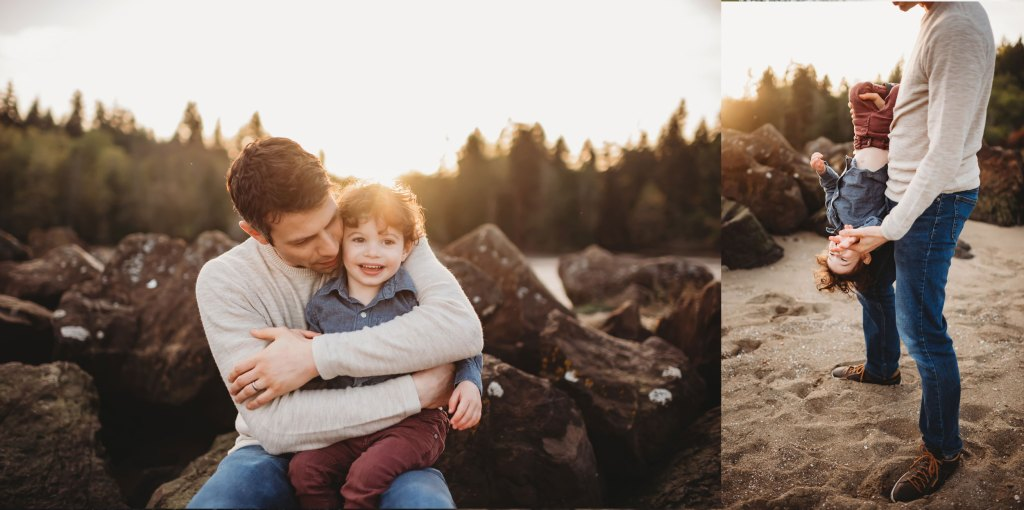father and son on Bainbridge Island at family photography session