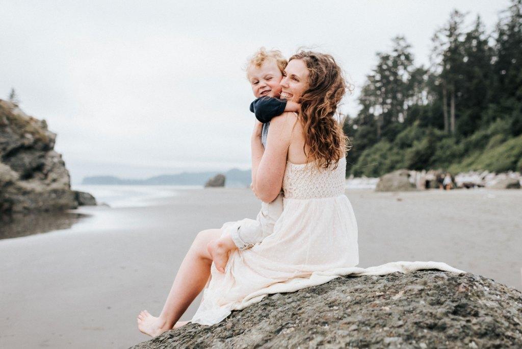seattle family photographer ruby beach family session washington coast mom and son photograph