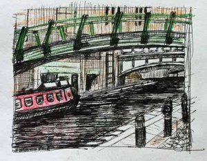 3 bridges at Brindley Place, Birmingham, Feb 2015; felt pen and pastel