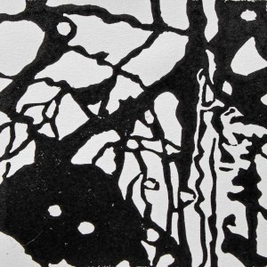 reflections3, 2015, 10 x 10cm; linocut