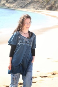 Fionnuala on the beach after recording Common Ground with Davey Arthur