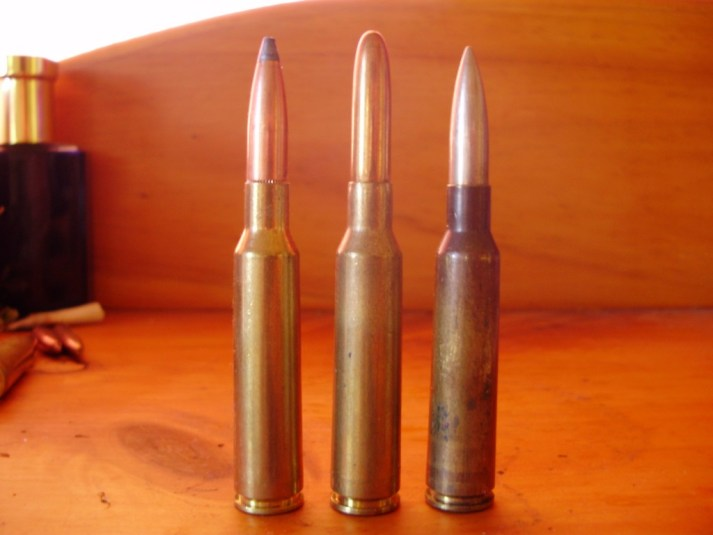 On the left is a 139-gr Pointed Soft Point PMC sporting load with a good amount of lead showing at the nose. Bullets like this are very dependable on deer. The cartridge on the middle is an original Finnish military loading featuring a 156-gr round nosed bullet. Right is a Swedish load with a 139-gr nickel bullet. Surplus and inexpensive ex military Mauser model 1896 rifles like this one did much to promote the popularity of the 6.5x55mm.