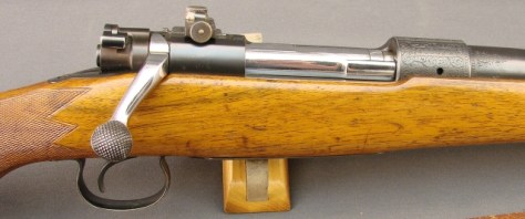 This elaborate Winchester model 54 bolt action was the precursor of the model 70. It was chambered for the Savage cartridge from 1931 on. It sports a factory optional peep sight.