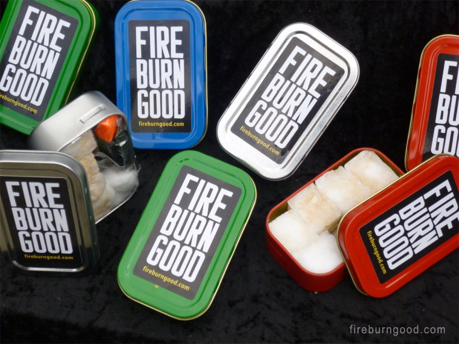 Firelighter Tins in Blue Red Silver and Green