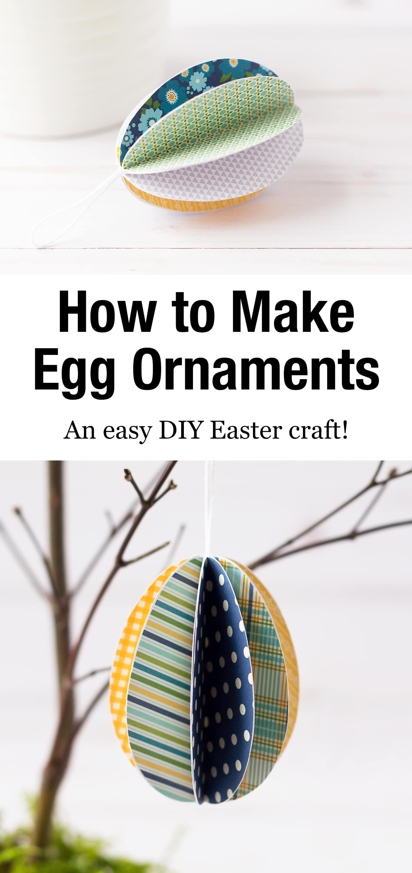 Use the free printable template to make beautiful 3D Paper Easter Egg Ornaments! It's the perfect Easter craft for kids of all ages! #eastereggornaments #papereggornaments #eastercraft #kidscrafts #3Dpapereggornaments via @firefliesandmudpies