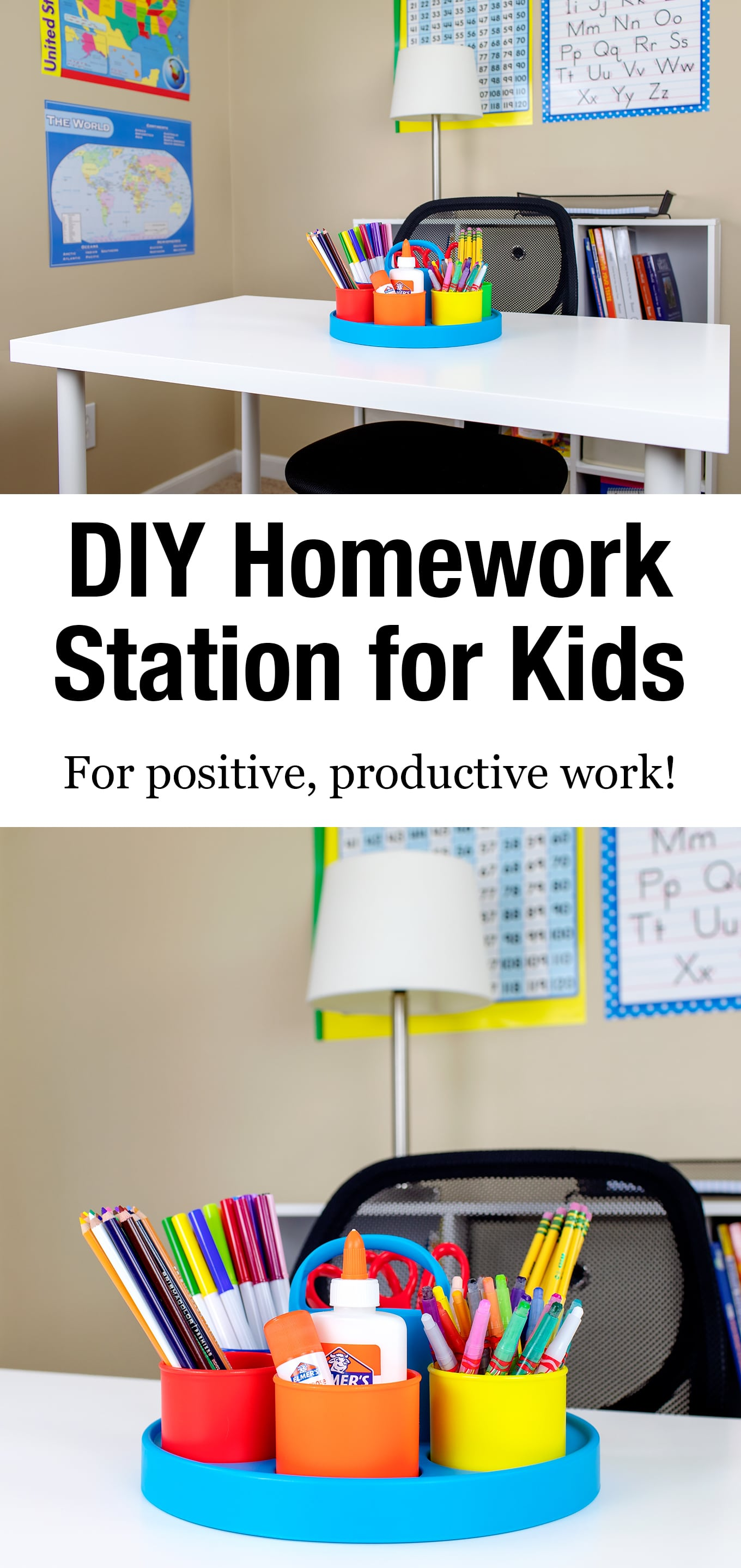 Help develop positive study skills, productive work habits, and increased school success by creating a designated kids homework station in your home. #homeworkstation #backtoschool #kids via @firefliesandmudpies