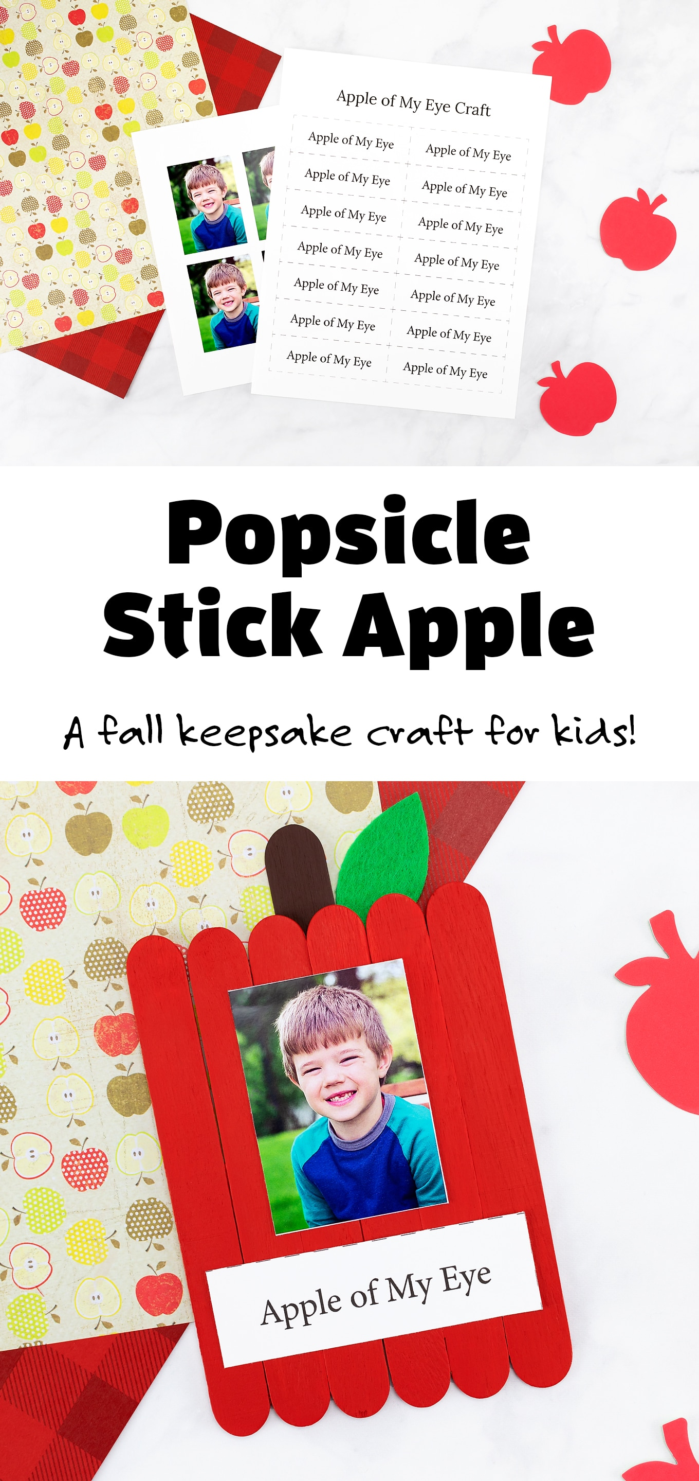 This easy and fun popsicle stick apple craft is the perfect keepsake for kids to make after visiting an apple orchard in the fall! #applecrafts #popsiclestickcraft #preschool via @firefliesandmudpies