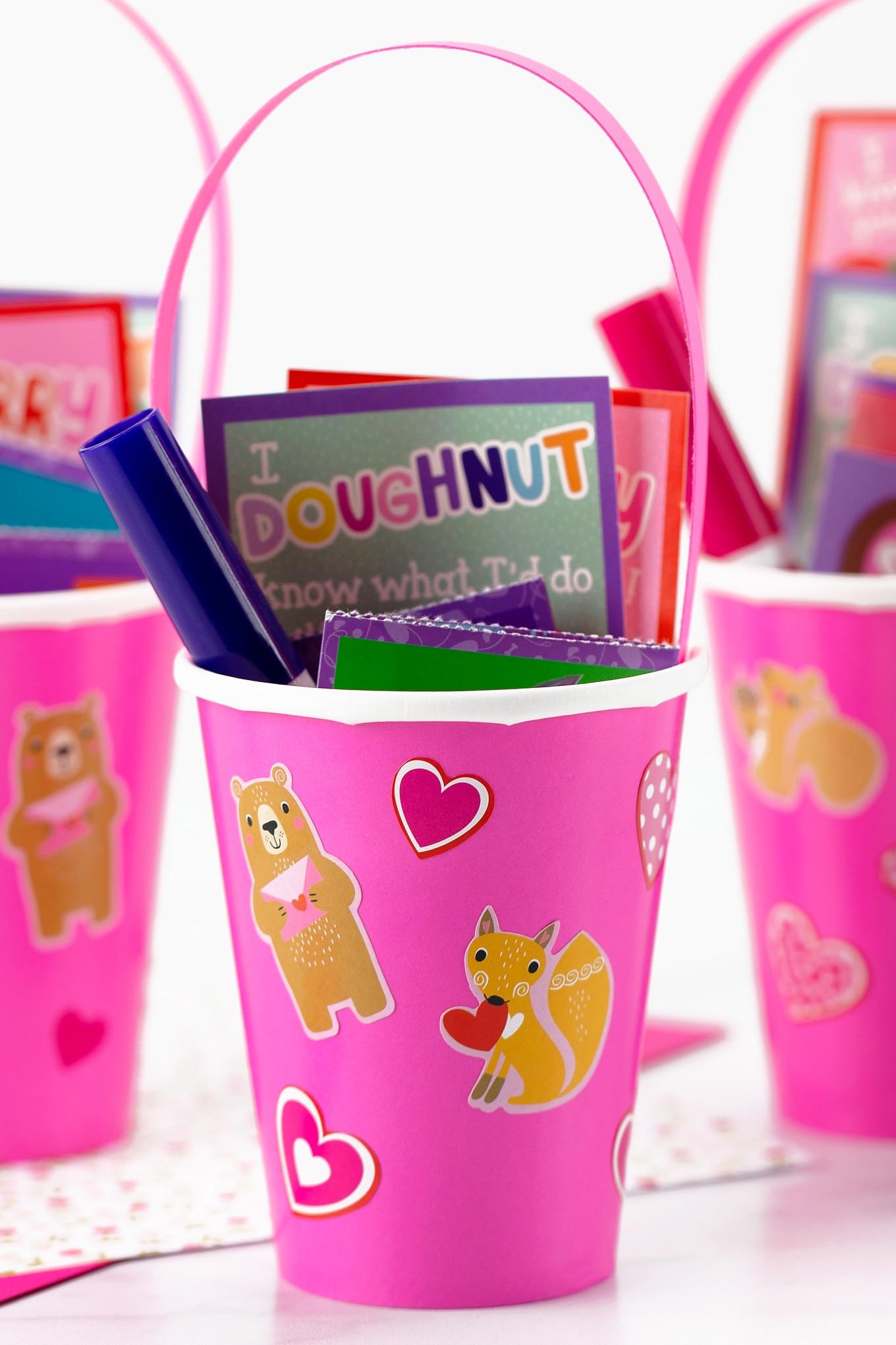 Pink Paper Cup Valentine Card Holder