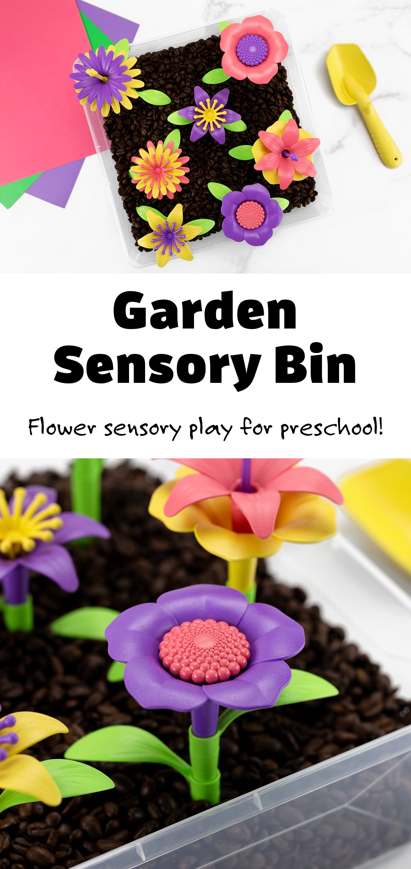 Let's dig into a garden sensory bin for some hands-on play, learning, and fun! This flower sensory bin is a great introduction for toddlers and preschoolers to explore planting and tending to a garden, all while learning about flowers. Turn it into a fun summer unit with some garden picture books, flower crafts, and nature walks.#gardensensorybin #flowersensorybin #kids #sensorybin via @firefliesandmudpies