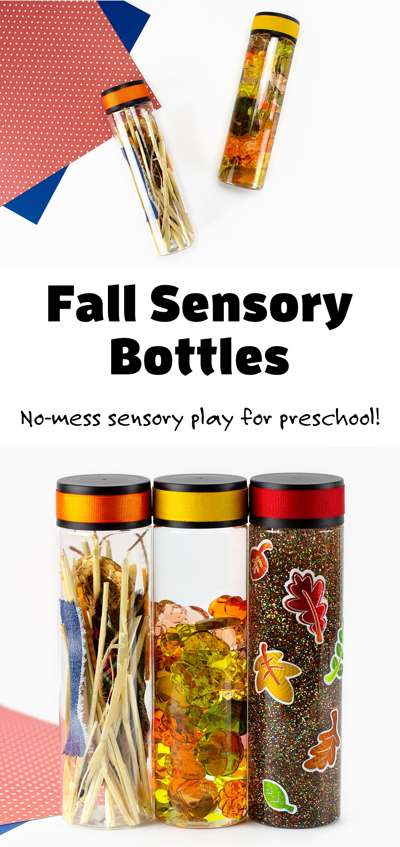 Learn how to make three mesmerizingfall sensory bottles (pumpkin, leaf, and scarecrow) that are perfect for safe, no-mess sensory play at home or at school.DIY sensory play ideas for preschool, toddlers, and older kids! #fallsensorybottles #preschool #sensoryplayideas #kids via @firefliesandmudpies