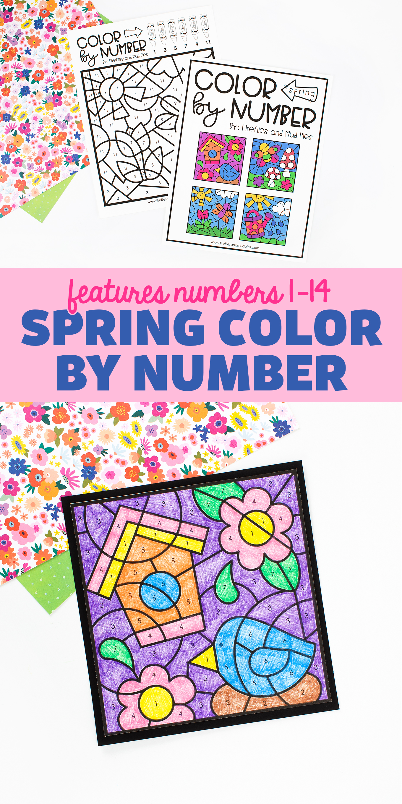 Download our free printable Spring Coloring by Number collection to use at school or home. This coloring activity set is perfect for reinforcing fine-motor skills, numbers 1–7, odd numbers up to 11, and even numbers up to 14. It's relaxing, fun, and perfect for welcoming blue skies, flowers, birds, and butterflies!  via @firefliesandmudpies