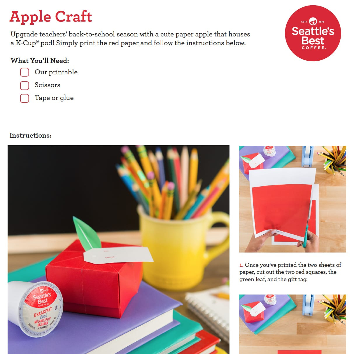 How To Make A Paper Apple Box For Teachers