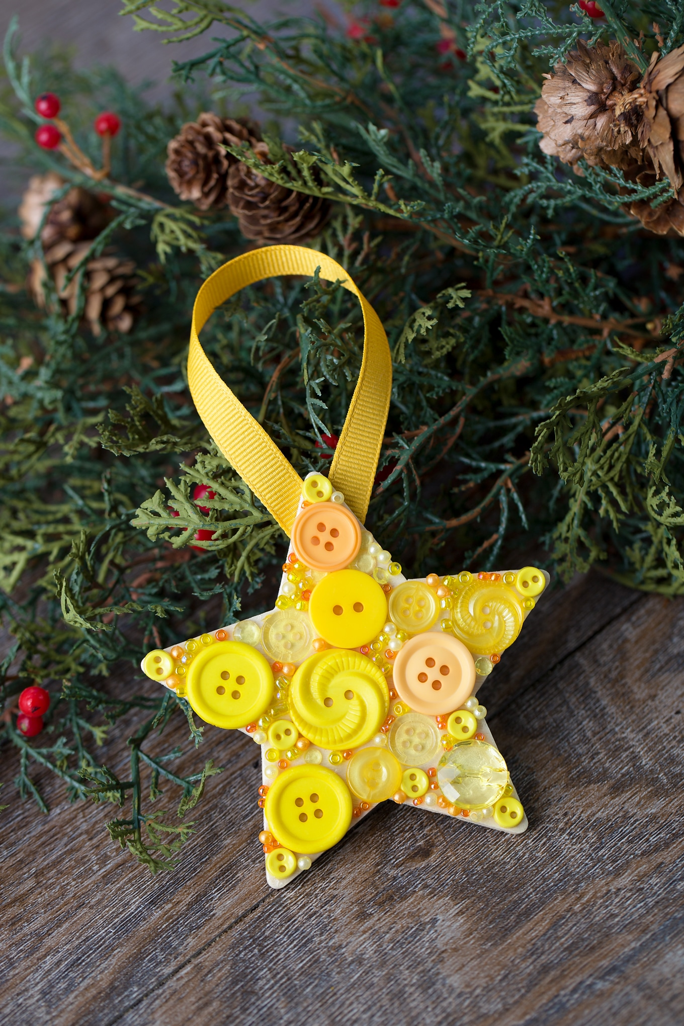 How to Make Colorful DIY Button Star Ornaments for Kids
