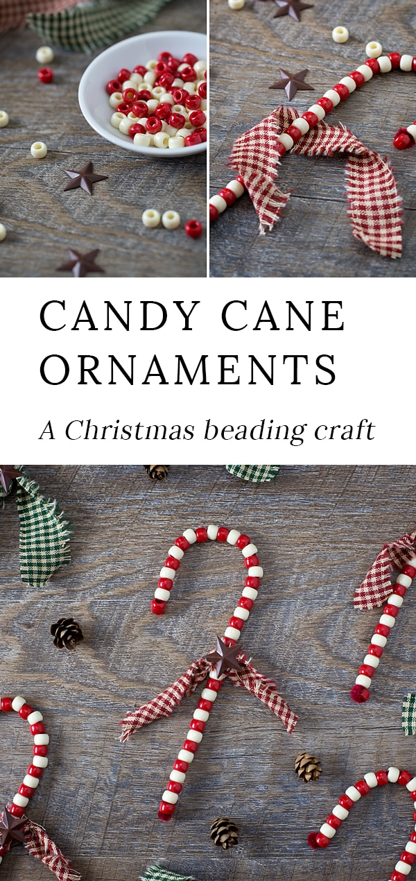 Just in time for the holidays, learn how to make Beaded Candy Cane Ornaments. Created with pipe cleaners and beads, give these fun ornaments a primitive twist,making them gift-ready and perfect for your Christmas tree. #christmas #ornaments #candycane via @firefliesandmudpies
