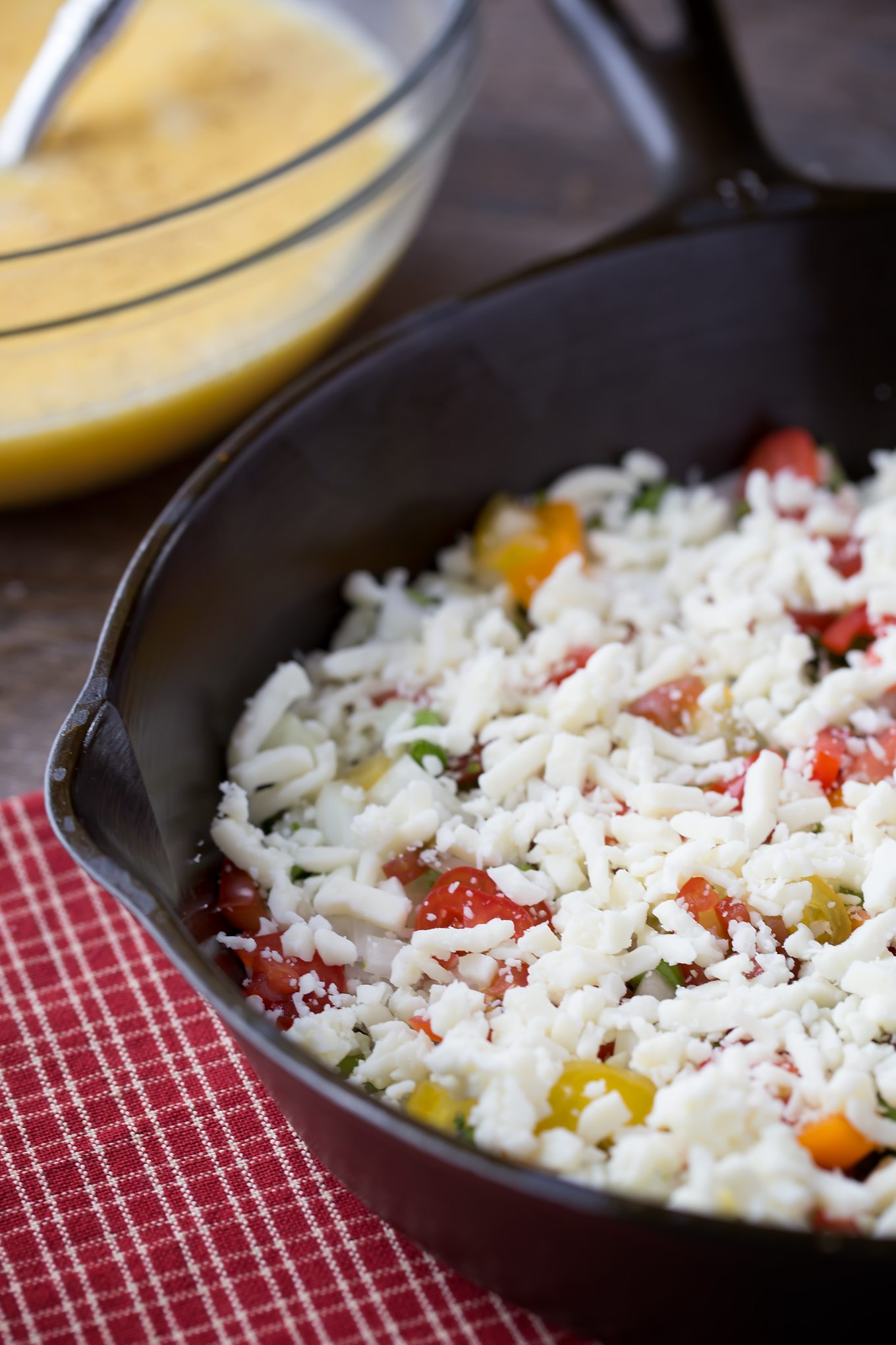 Cheese and Fresh Vegetables for Vegetarian Egg Bake Recipe