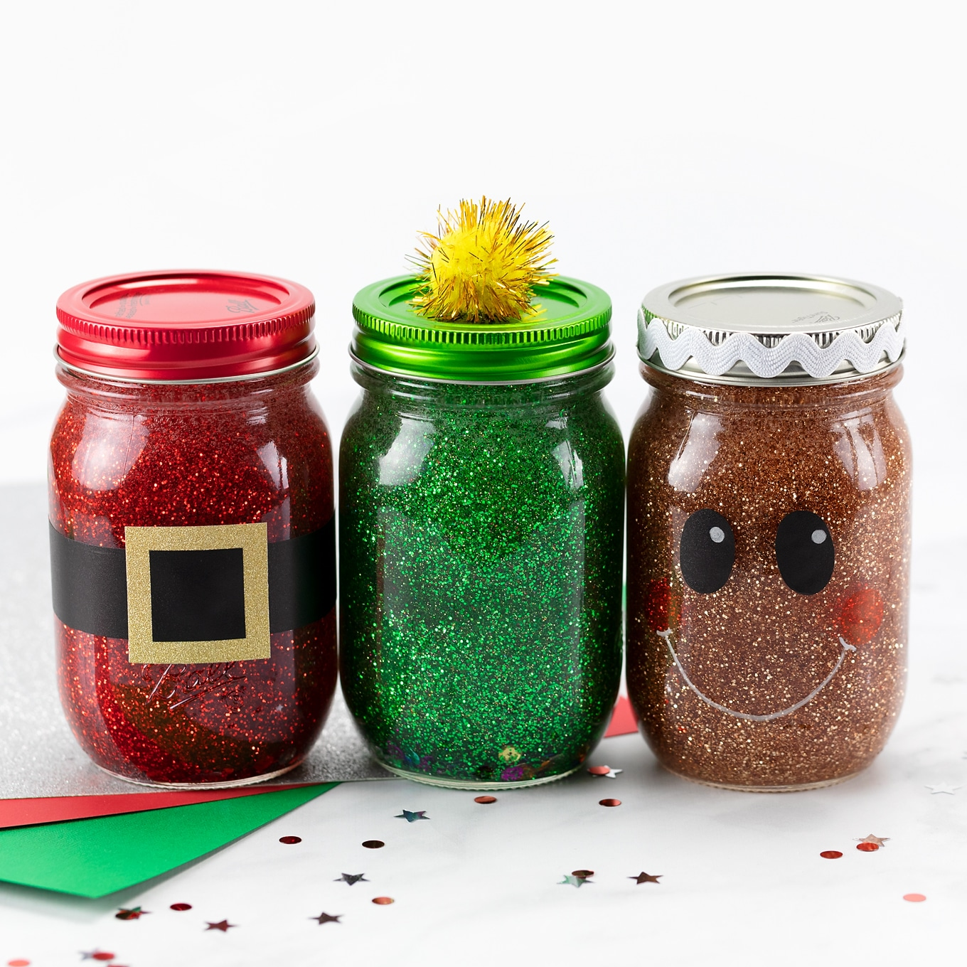 Christmas Glitter Jars - Santa, Christmas Tree, and Gingerbread Man