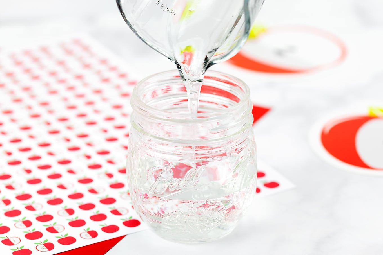 Clear Glue Being Added to Glitter Jar