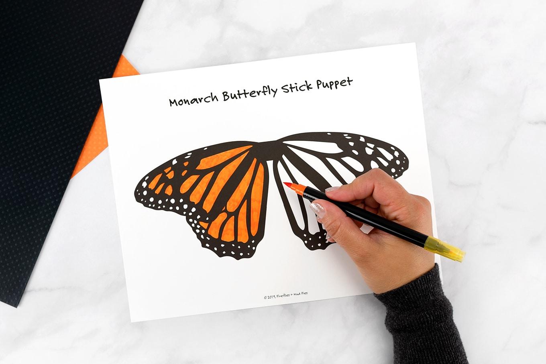 Monarch Butterfly Stick Puppet Template