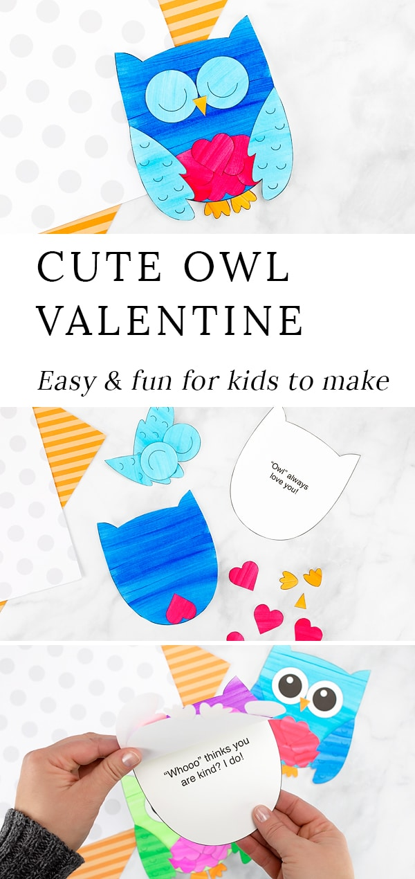 This sweet Owl Valentinecard is fun for kids to make for family and friends. Created with paper hearts and a printable owl template, this simple handmade Valentine's Day card is perfect for home or school. #owl #valentine #craft via @firefliesandmudpies