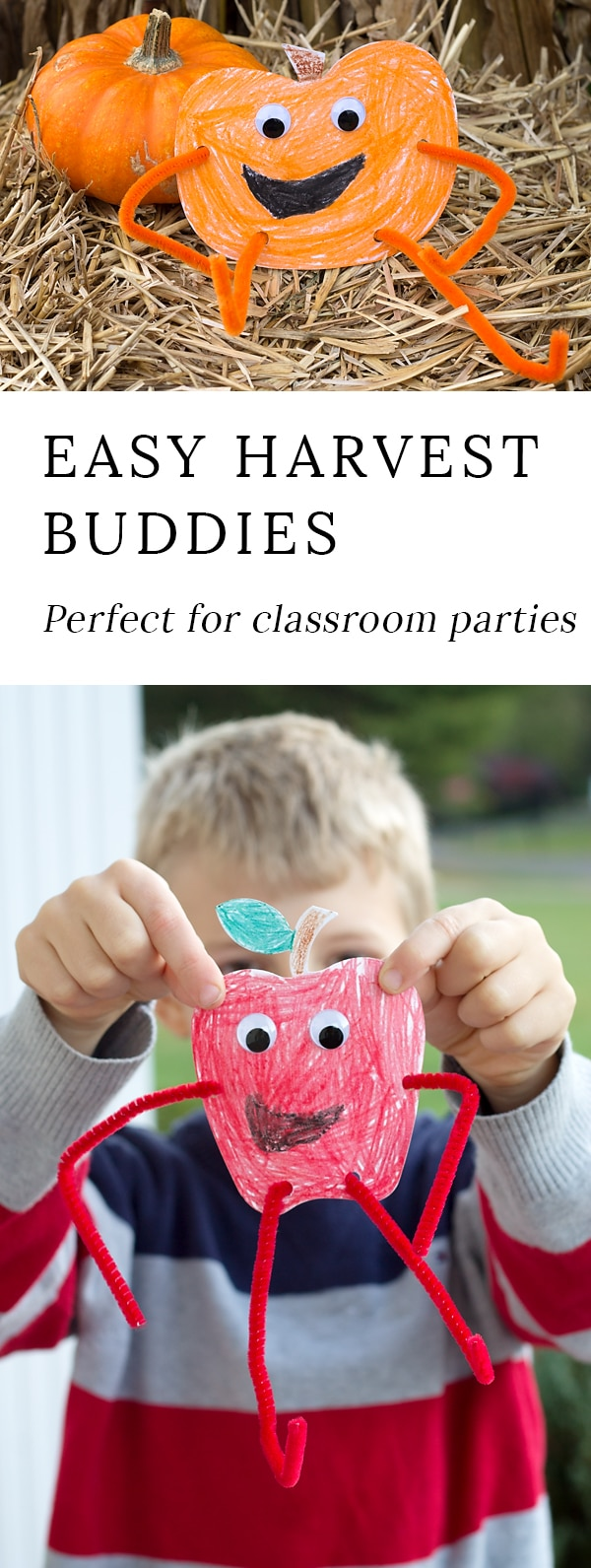 Fall Harvest Buddies are an easy and fun printable craft for kids of all ages! This craft is perfect for classroom parties or lazy crafternoons at home. #fallcrafts #harvestbuddies #pumpkin #crafts via @firefliesandmudpies