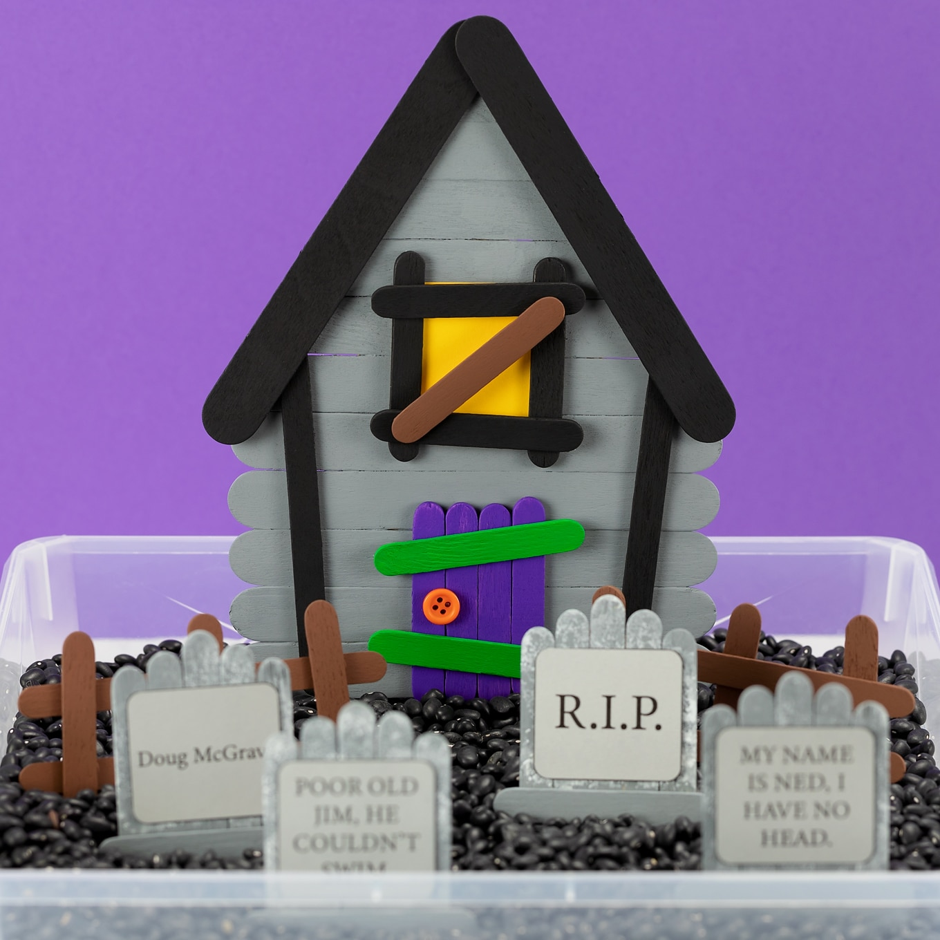 Popsicle Stick Haunted House and Graveyard