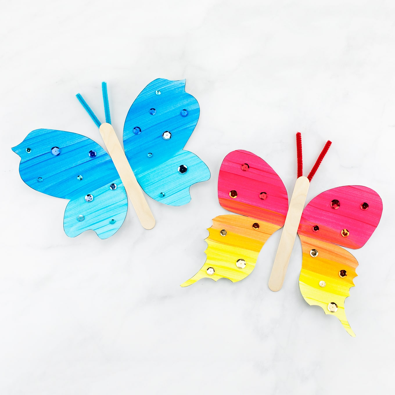 Blue and Red Paper Butterflies