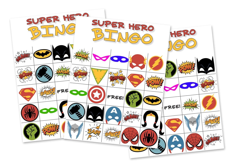 Free Superhero Bingo Game